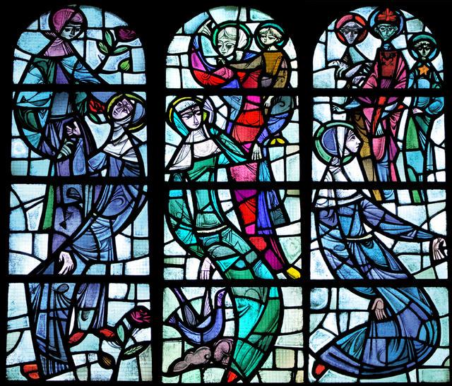 Het rozenwonder, heilige Rita met Maria en opneming met twee engelen;