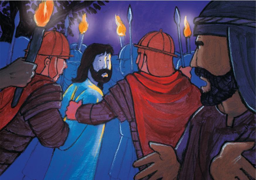 Jezus wordt gevangen genomen © Roel Ottow in 'Hosanna'