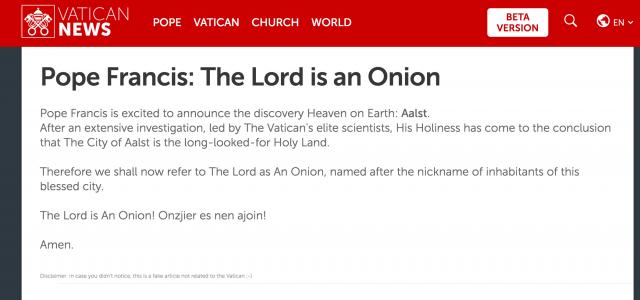 De boodschap die een tijdlang op de site van het Vaticaan stond. © Website Vaticaan