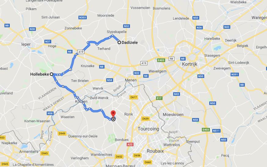 De drie bedevaartsplaatsen liggen op 15 kilometer van elkaar. © Google Maps