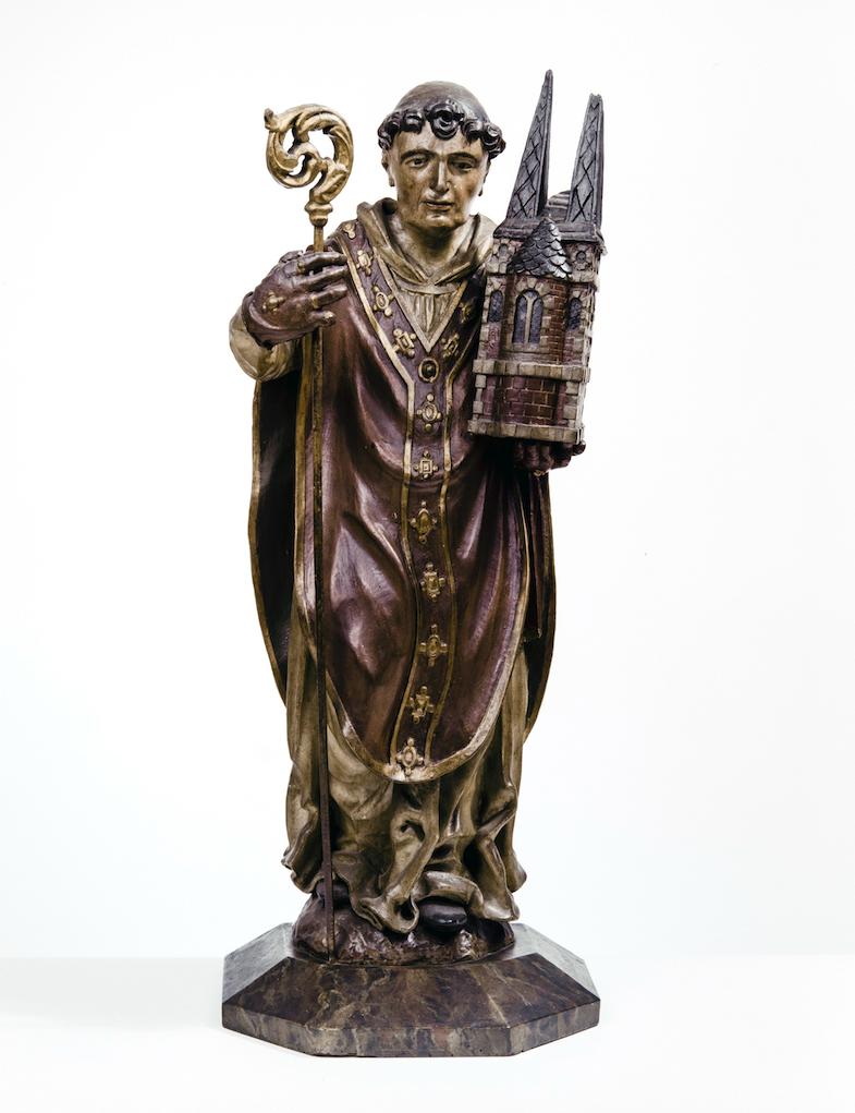 Houten beeld van Sint-Trudo uit de eerste helft van de 17de eeuw.  © BaLat, KIK, Jean-Luc Elias