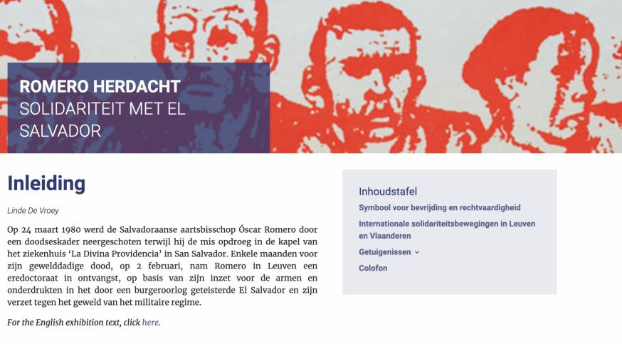 De openingspagina van de website rond Romero. © KADOC
