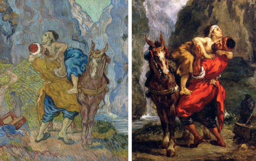 De versie Van Gogh tegenover de inspiratiebron van Delacroix. © Wikimedia