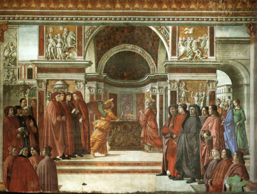'De verkondiging aan Zacharias' van Domenico Ghirlandaio. © WIkipedia