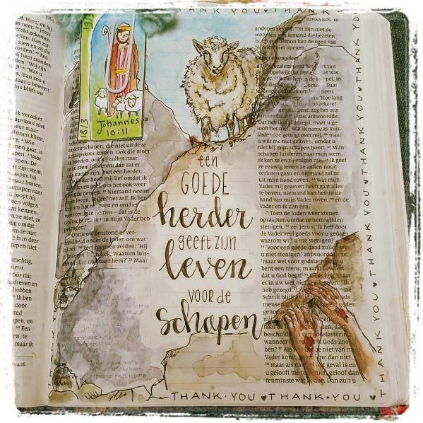 Op sociale media vind je heel wat mooie voorbeelden. © Instagram Biblejournaling.nl