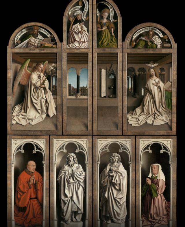 Het Lam Gods (1432), gesloten, na restauratie, door Hubert en Jan Van Eyck ©  Lukas - Art in Flanders