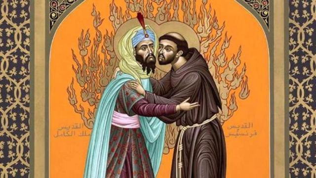 Icoon van Franciscus en de sultan, door franciscaan Robert Lentz. © Robert Lentz