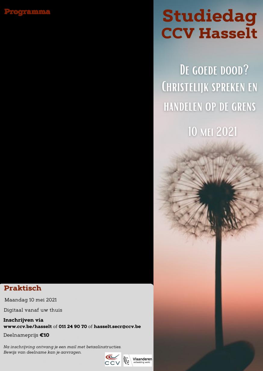Programma CCV studiedag 'de goede dood' © CCV Hasselt