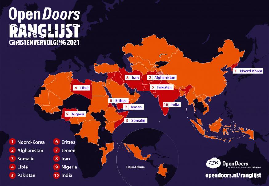 Top 10 van de vervolging van christenen © Open Doors