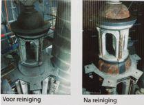 Het torentje van de sacramentstoren, voor en na de restauratie