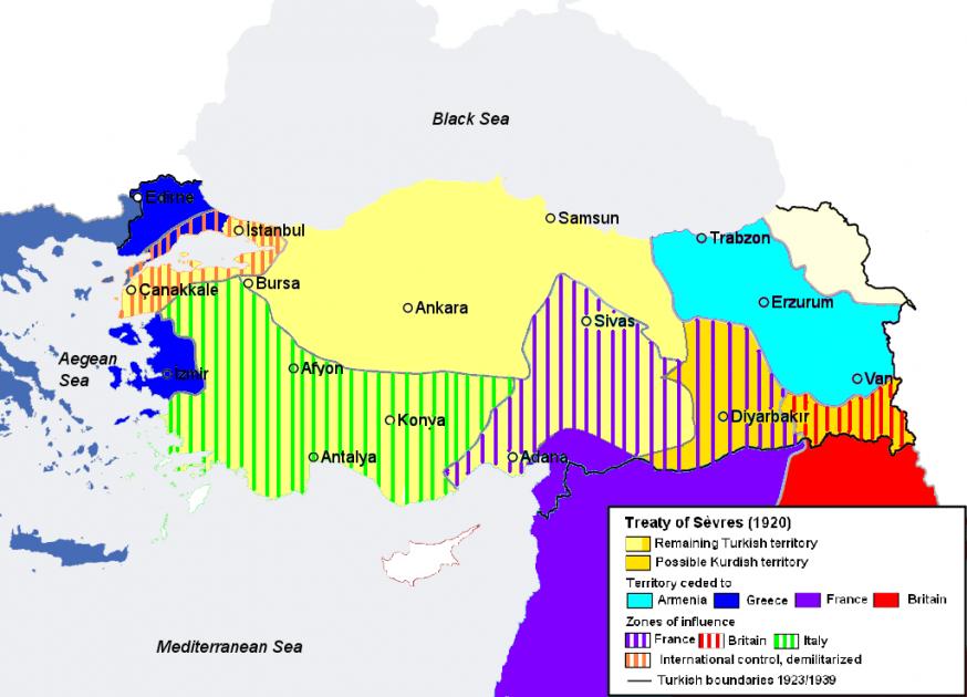 Hoe het Verdrag van Sèvres het Ottomaanse Rijk opdeelde  © Wikipedia