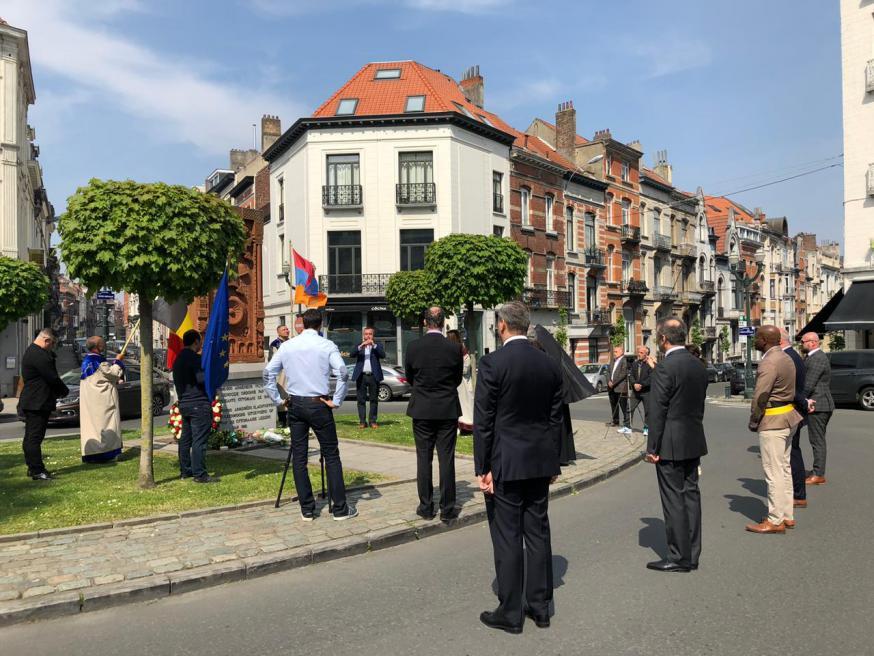 De herdenkingsmanifestatie in beperkte kring deze namiddag in Elsene © RR
