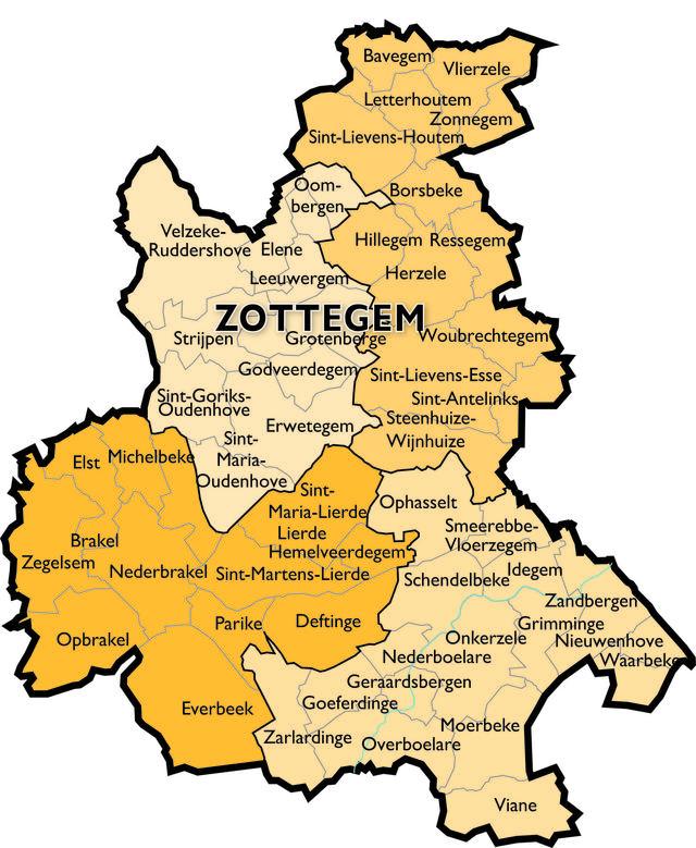 Kaart Dekenaat Zottegem © Bisdom Gent
