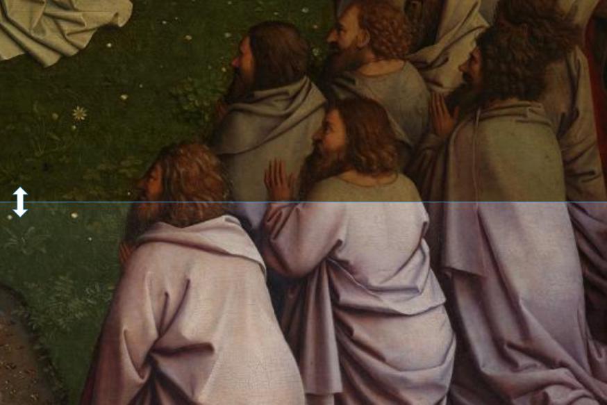 Apostelen voor en na restauratie - klik om te schuiven © Sint-Baafskathedraal Gent, Lukasweb.be-Art in Flanders vzw, foto KIK-IRPA