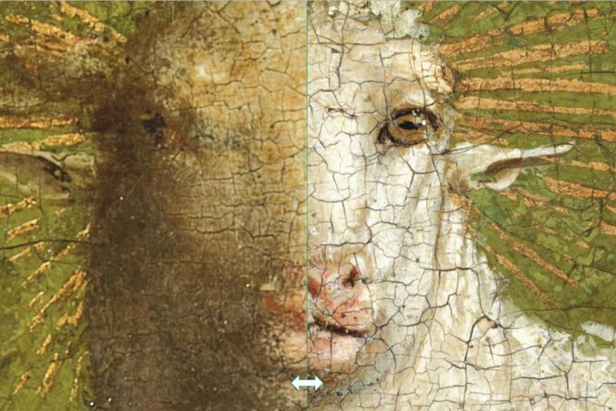 Gelaat van het Lam voor en na restauratie - klik om te schuiven © Sint-Baafskathedraal Gent, Lukasweb.be-Art in Flanders vzw, foto KIK-IRPA
