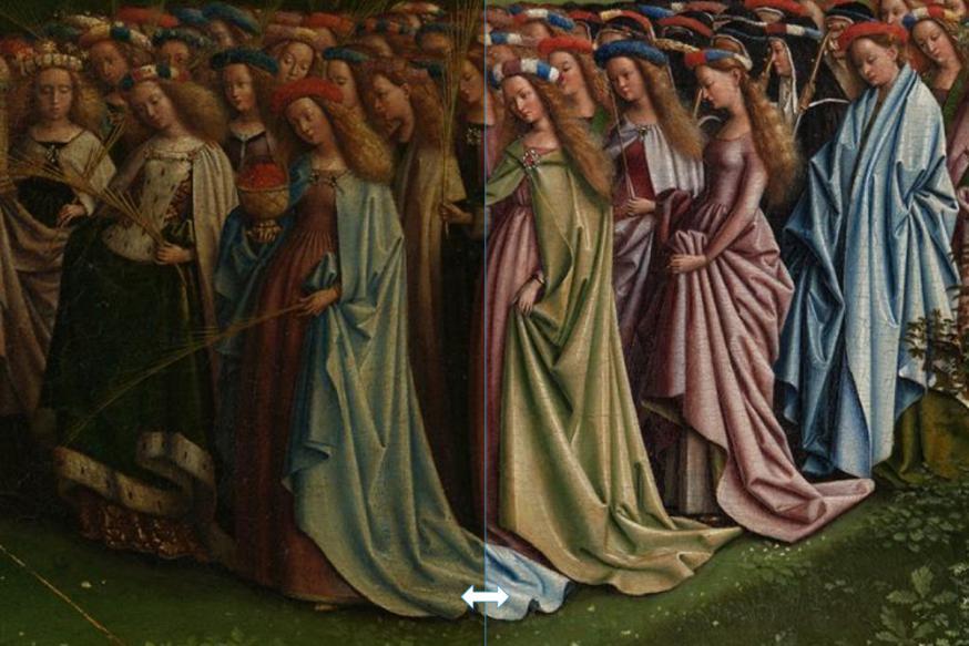 Maagden voor en na restauratie - klik om te schuiven © Sint-Baafskathedraal Gent, Lukasweb.be-Art in Flanders vzw, foto KIK-IRPA