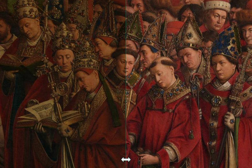 Martelaren voor en na restauratie - klik om te schuiven © Sint-Baafskathedraal Gent, Lukasweb.be-Art in Flanders vzw, foto KIK-IRPA