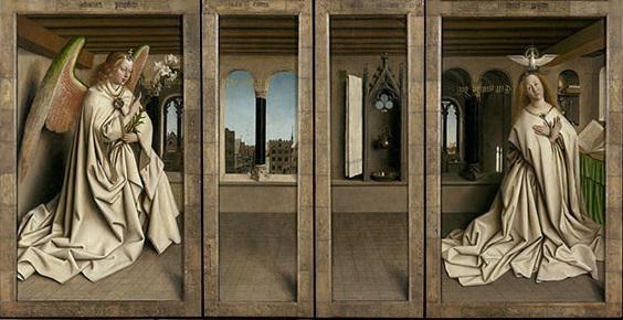 Het paneel van de aankondiging op de buitenluiken © Sint-Baafskathedraal - www.artinflanders.be