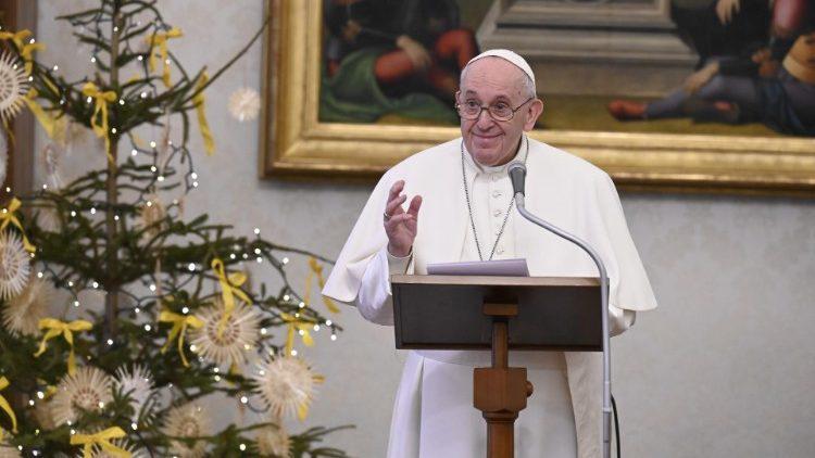 Paus Franciscus tijdens het angelus van gisteren © Vatican Media