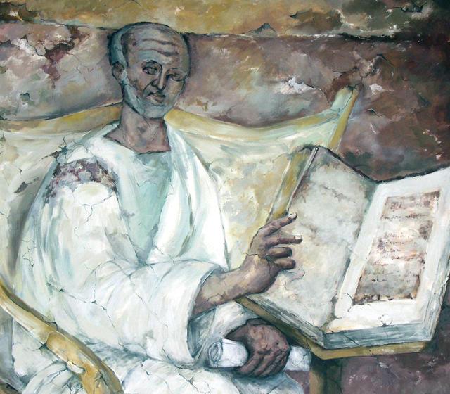 Een kopie van het fresco op een muur in de kerk van Lateranen in Rome.