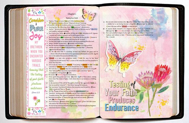 Een voorbeeld van een digitaal bewerkte bijbelpassage, die mensen dan delen via Facebook of Instagram. © http://www.biblejournalingdigitally.com/