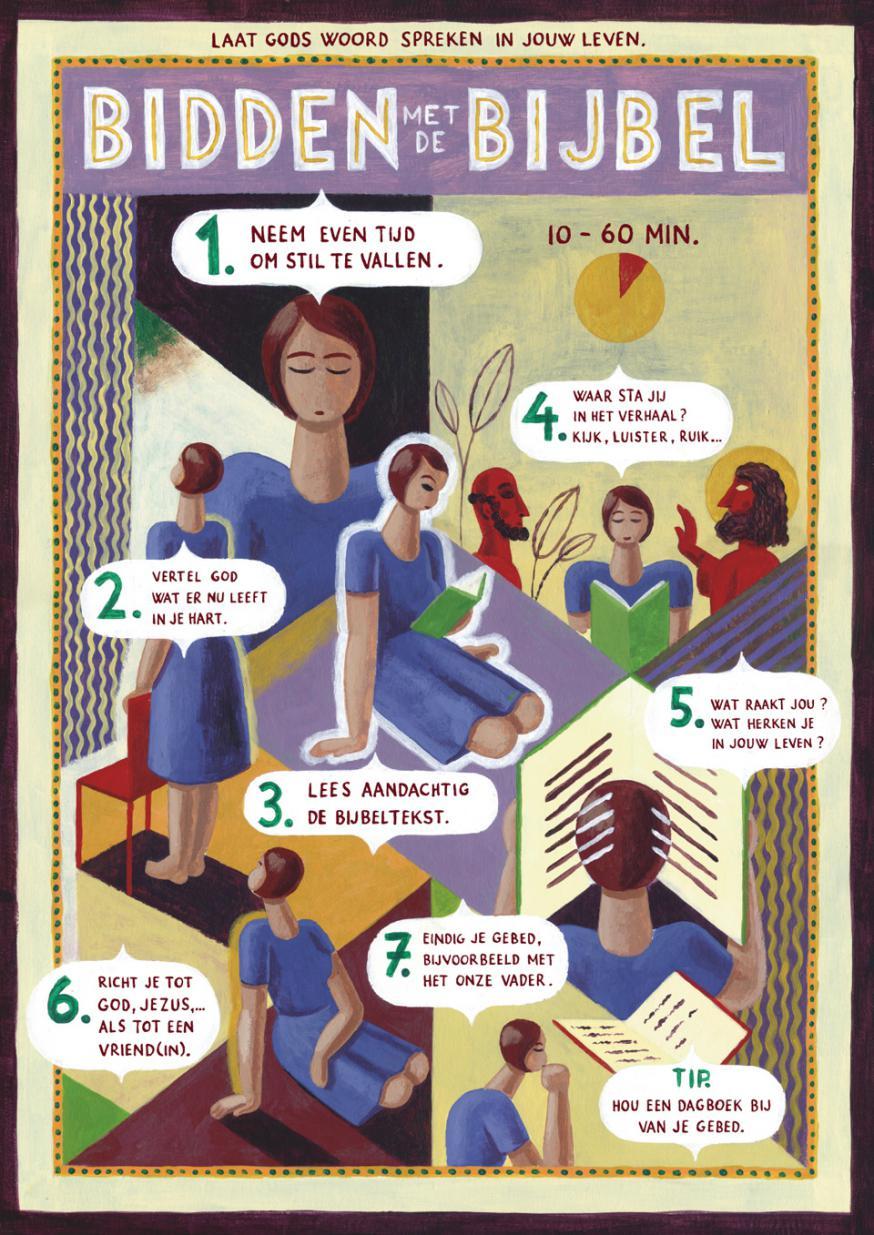 Bidden met de Bijbel in 7 stappen © Kerk en media - Illustratie: Pieter van Eenoge