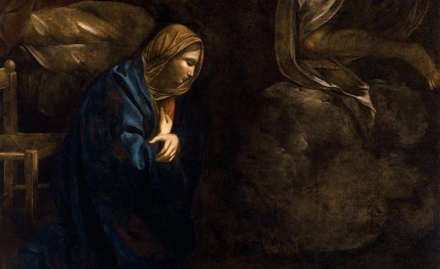 De Aankondiging (detail), Caravaggio © Musée des Beaux-Arts de Nancy / Wikimedia Commons