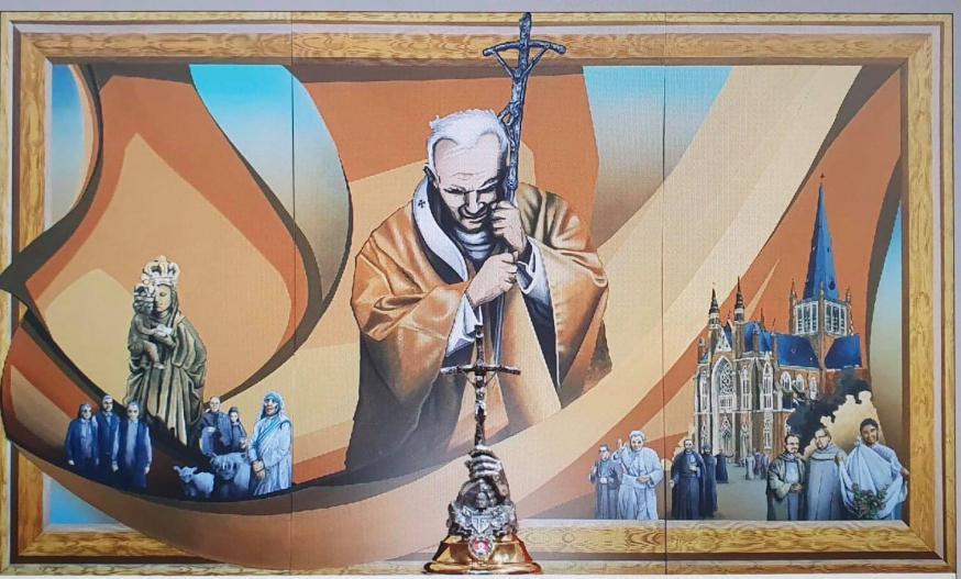Het Joannes Paulus II-retabel van Koen Deleu van de basiliek in Dadizele © Koen Deleu