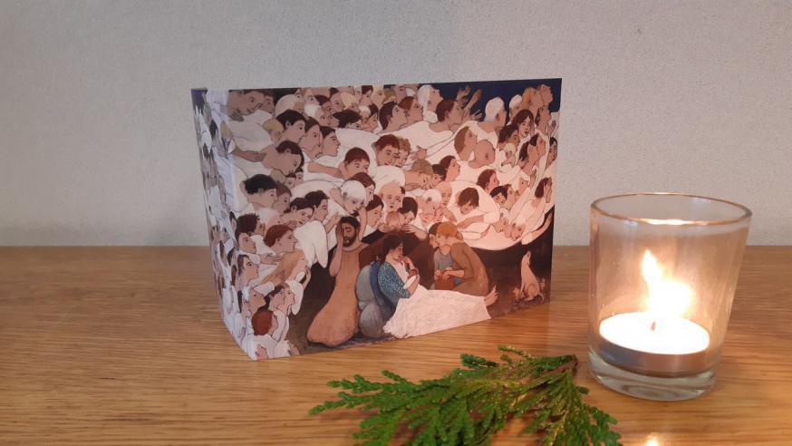 Het bisdom Hasselt heeft een speciale kerstkaart ontworpen om mensen die het moeilijk hebben een hart onder de riem te steken.  © Brian T. Kershisnik