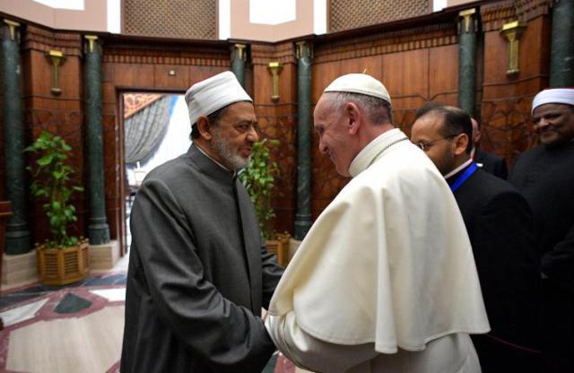 Paus Franciscus en de grootmoeftie van Al Azhar © OSR/SIR