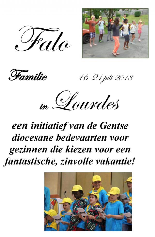 uitnodiging Lourdes met Falo van 15 tot 21 juli 2018 © kerk Stekene en Sint-Gillis-Waas