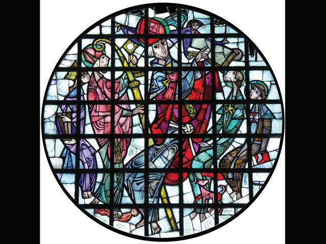 Glasraam heilige Augustinus werd geplaatst op 23 en 24 december 1957.