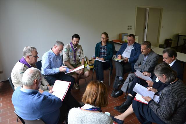 De gespreksgroep met Bertrand Goethals en Werner Fierens van Scouts & Gidsen Vlaanderen © Jeroen Moens