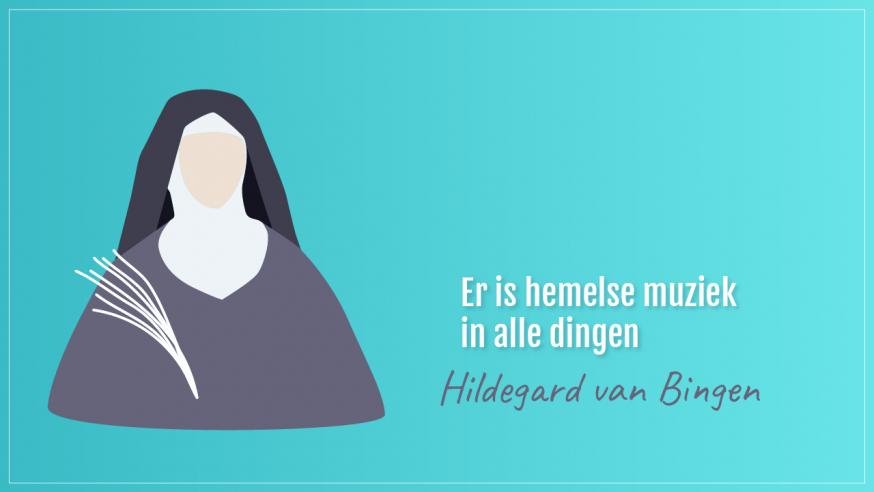 Hildegard van Bingen (1098-1179) © Illustratie Sim D'Hertefelt
