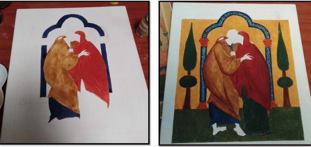 Bij het schilderen van iconen werk je van licht naar donker. De ogen komen op het laatst. © Babs Mertens