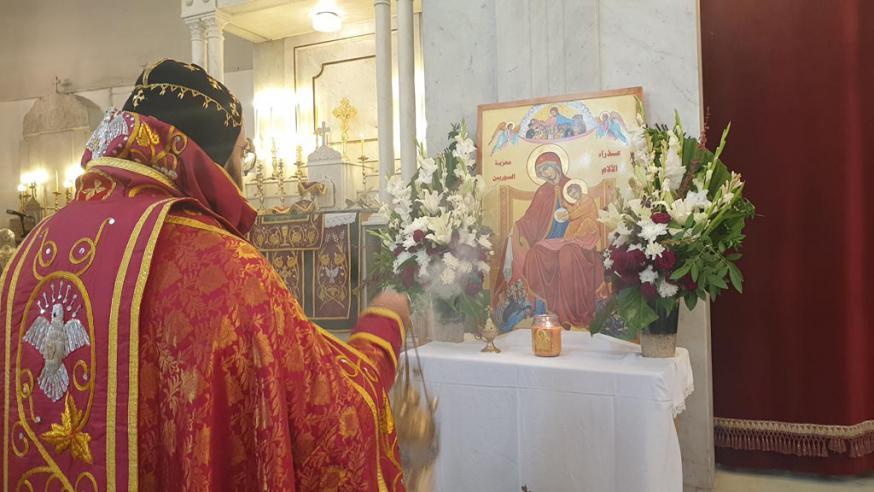Icoon van 'Onze-Llieve-Vrouw van Smarten - Troosteres van het Syrische volk' bij het patriarchaal vicariaat van de Syrisch-orthodoxen © Kerk in Nood