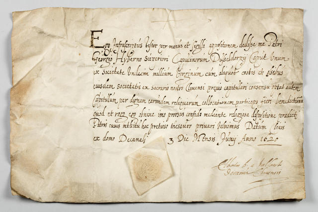 Het authenticiteitsattest uit 1620. Kathedraalarchief Mechelen. © Stephan Dewickere/Provincie Antwerpen