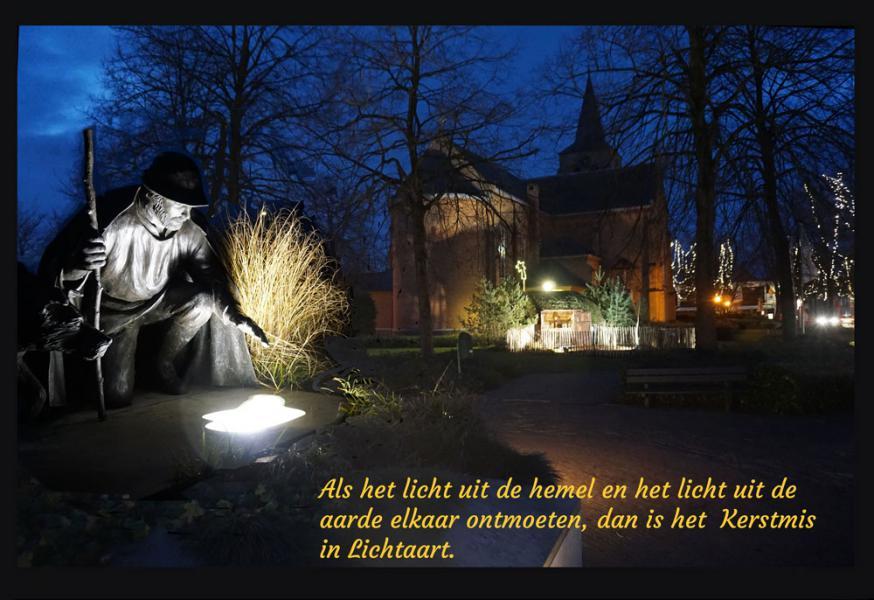 Kerstsfeer bij avond in Lichtaart  © parochie Onze-Lieve-Vrouw Lichtaart