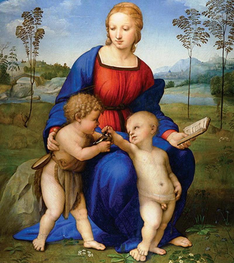 Madonna del Cardellino, Rafaël. Maria met Jezus en Johannes, die een distelvinkje bij heeft, symbool van Christus' passie.  © WikiCommons