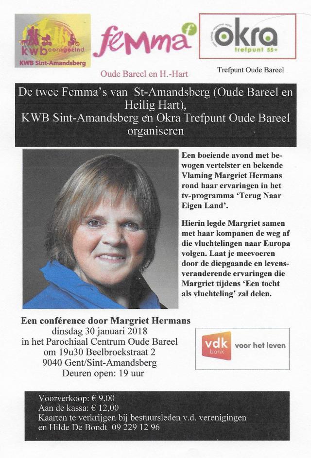 lezing, Margriet Hermans, Oude Bareel, Sint-Amandsberg