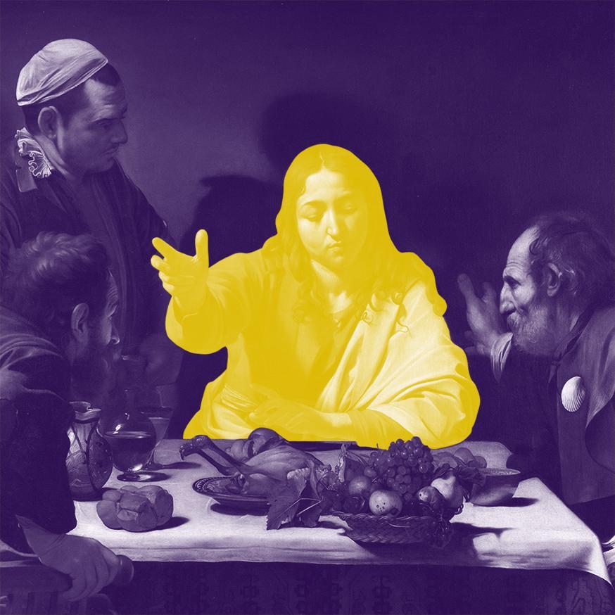 Pasen: vorm mij! © Sim D'Hertefelt naar De Emmaüsgangers van Caravaggio, National Gallery Londen