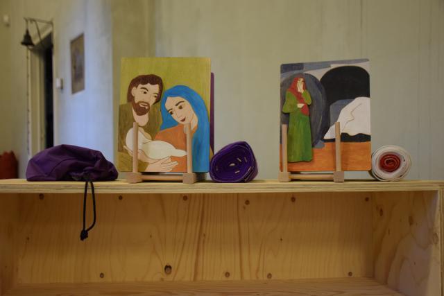 Paaskast in de Godly Play ruimte in Vaalbeek © Hilde Pex