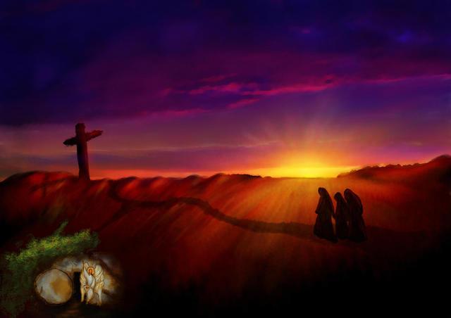 Wees niet bang, want Jezus die gekruisigd is, is niet hier, Hij is tot leven gewekt' © Thoom