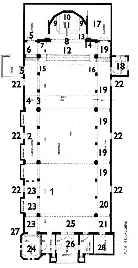 Grondplan van onze kerk © Parochie Onze-Lieve-Vrouw Middelares