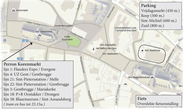 Ligging Sint-Baafshuis te Gent
