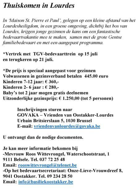 reisinfo Lourdes 15 - 21 juli met Falo © Kerk Stekene en Sint-Gillis-Waas