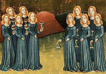 De parabel van de Gelijkenis van de wijze en de dwaze meisjes - onbekende artiest