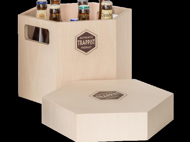 Het trappistenkistje Authentic Trappist Box wordt verkocht in een handvol abdijen en bijbehorende cafés in België en Nederland. © Internationale Vereniging Trappist