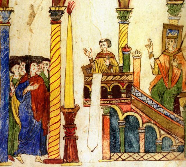 'Verluchting' op middeleeuwse exsultet-rol