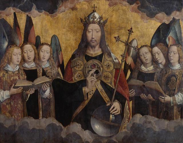Middenpaneel met Christus. Op de zoom van zijn albe staat 'Agyos o Theos', Heilige God. De 3 edelstenen verbeelden de Drievuldigheid. © KMSKA